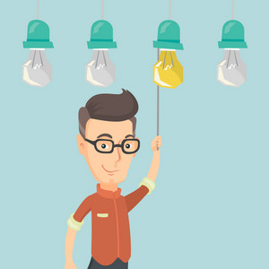 Caucasian businessman switching on hanging idea light bulb. Young cheerful businessman pulling a light switch. Business idea concept. Vector flat design illustration isolated on white background.