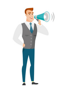 Caucasian businessman with a loudspeaker making an announcement. Full length of businessman making an announcement through a loudspeaker. Vector flat design illustration isolated on white background.