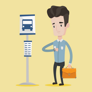 Caucasian businessman with briefcase waiting for a bus at the bus stop. Young man standing at the bus stop. Man looking at his watch at the bus stop. Vector flat design illustration. Square layout.