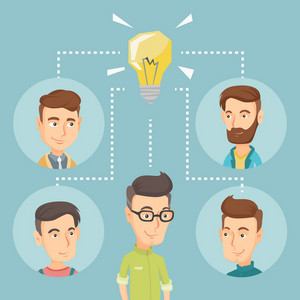 Caucasian businessmen working on business ideas. Businessmen discussing business idea. Group of young businessmen connected by one idea light bulb. Vector flat design illustration. Square layout.