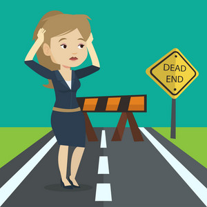 Caucasian businesswoman looking at road sign dead end symbolizing business obstacle. Woman facing with business obstacle. Business obstacle concept. Vector flat design illustration. Square layout.