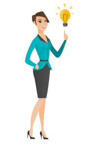 Caucasian businesswoman pointing at business idea light bulb. Full length of businesswoman having business idea. Business idea concept. Vector flat design illustration isolated on white background.