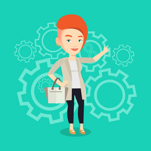 Caucasian businesswoman pointing finger up because she came up with business idea. Businesswoman having business idea. Successful business idea concept. Vector flat design illustration. Square layout