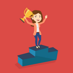 Caucasian businesswoman with business award standing on a pedestal. Cheerful businesswoman celebrating her business award. Business award concept. Vector flat design illustration. Square layout.