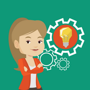 Caucasian businesswoman with business idea bulb in a cogwheel. Young smiling businesswoman having a business idea. Concept of successful business idea. Vector flat design illustration. Square layout.