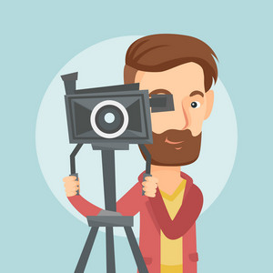 Caucasian cameraman looking through movie camera on a tripod. Young cameraman with professional video camera. Hipster cameraman taking a video. Vector flat design illustration. Square layout.