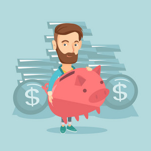 Caucasian cheerful business man with a piggy bank. Business man holding a big piggy bank. Hipster businessman with beard saving money in a piggy bank. Vector flat design illustration. Square layout.