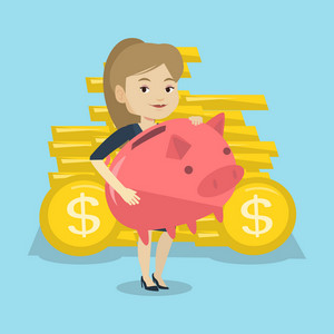 Caucasian cheerful business woman with a pink piggy bank. Business woman holding a big piggy bank . Business woman saving money in a piggy bank. Vector flat design illustration. Square layout.