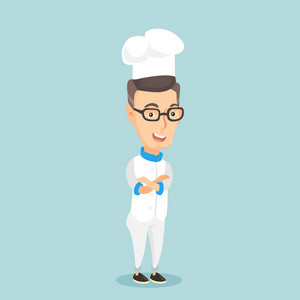 Caucasian cheerful chief cook in uniform and hat standing with arms crossed. Young caucasian chef cook. Full length of confident male chief cook. Vector flat design illustration. Square layout.
