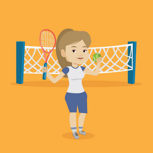 Caucasian cheerful sportswoman playing tennis. Smiling tennis player standing on the court. Happy female tennis player holding a racket and a ball. Vector flat design illustration. Square layout.