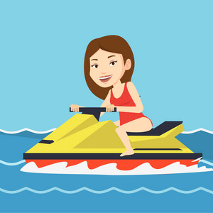 Caucasian cheerful woman on jet ski in the sea at summer sunny day. Young smiling woman riding on a water scooter. Happy woman training on a jet ski. Vector flat design illustration. Square layout.