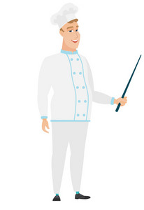 Caucasian chef cook holding a pointer stick. Full length of young chef cook with pointer stick. Chef cook pointing with pointer stick. Vector flat design illustration isolated on white background.