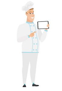 Caucasian chef cook holding tablet computer. Full length of young chef cook pointing at tablet computer. Chef cook with tablet computer. Vector flat design illustration isolated on white background.