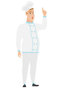 Caucasian chef cook in uniform with open mouth pointing finger up. Full length of young chef cook with open mouth came up with an idea. Vector flat design illustration isolated on white background.