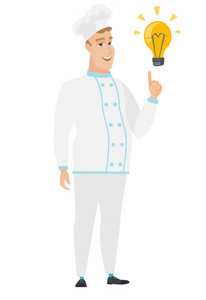 Caucasian chef cook pointing at bright idea light bulb. Full length of chef cook having idea. Chef cook came up with an idea for a recipe. Vector flat design illustration isolated on white background.