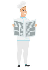 Caucasian chef cook reading newspaper. Young happy chef cook standing with newspaper in hands. Chef cook reading good news in newspaper. Vector flat design illustration isolated on white background.