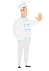 Caucasian chef cook showing stop hand gesture. Full length of young chef cook doing stop gesture. Serious chef cook with a stop gesture. Vector flat design illustration isolated on white background.