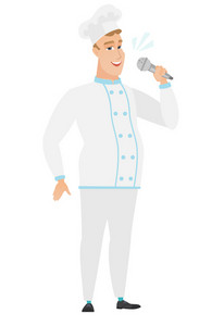 Caucasian chef cook singing to the microphone. Full length of chef cook singing with closed eyes. Happy chef cook singing to the mic. Vector flat design illustration isolated on white background.