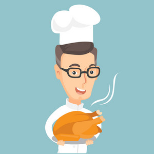 Caucasian chief cook in uniform and cap holding roasted chicken. Chief cook with whole baked chicken. Chief cook holding plate with just fried chicken. Vector flat design illustration. Square layout.