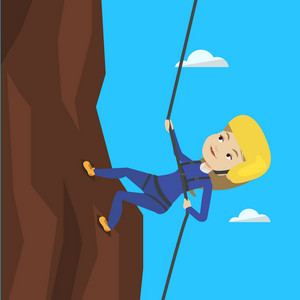 Caucasian climber in action. Rock climber in protective helmet climbing on a rock. Smiling woman climbing in mountains with rope. Woman climbing a rock. Vector flat design illustration. Square layout.