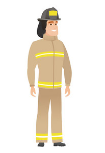 Caucasian confident firefighter in uniform. Full length of confident firefighter. Firefighter standing in a pose signifying confidence. Vector flat design illustration isolated on white background.