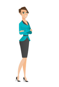 Caucasian confident smiling business woman standing with folded arms. Full length of young confident business woman with folded arms. Vector flat design illustration isolated on white background.