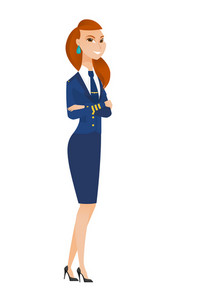 Caucasian confident smiling stewardess in uniform standing with folded arms. Full length of young confident stewardess with folded arms. Vector flat design illustration isolated on white background.