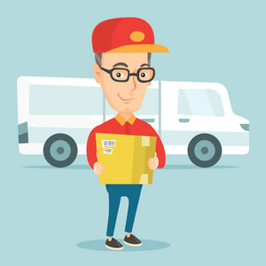 Caucasian delivery courier holding box on the background of truck. Delivery courier carrying cardboard box. Delivery courier with box in hands. Vector flat design illustration. Square layout.