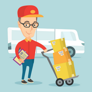 Caucasian delivery courier with cardboard boxes on troley. Young delivery courier holding clipboard. Courier standing in front of delivery van. Vector flat design illustration. Square layout.