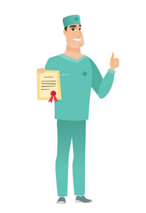 Caucasian doctor holding a certificate. Full length of doctor with certificate. Doctor in uniform showing certificate and thumbs up. Vector flat design illustration isolated on white background.