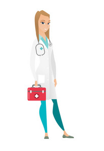 Caucasian doctor in medical gown holding first aid box. Friendly doctor standing with first aid kit. Young doctor carrying first aid box. Vector flat design illustration isolated on white background.