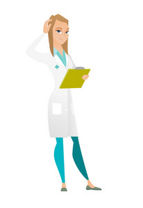 Caucasian doctor in medical gown scratching her head. Full length of thoughtful doctor scratching head. Puzzled doctor scratching head. Vector flat design illustration isolated on white background.