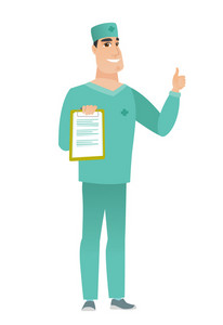 Caucasian doctor in uniform holding clipboard and giving thumb up. Full length of young doctor with clipboard. Doctor showing clipboard. Vector flat design illustration isolated on white background.