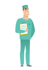 Caucasian doctor in uniform holding clipboard with papers. Full length of happy doctor with papers. Young smiling doctor holding papers. Vector flat design illustration isolated on white background.