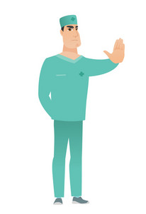 Caucasian doctor in uniform showing stop hand gesture. Full length of doctor doing stop gesture. Serious doctor with a stop gesture. Vector flat design illustration isolated on white background.