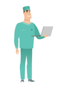 Caucasian doctor in uniform using a laptop. Full length of young smiling doctor working on a laptop. Cheerful doctor holding a laptop. Vector flat design illustration isolated on white background.