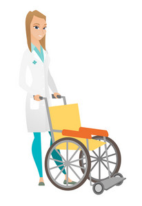 Caucasian doctor pushing an empty wheelchair. Full length of cheerful doctor standing near wheelchair. Young female doctor with wheelchair. Vector flat design illustration isolated on white background