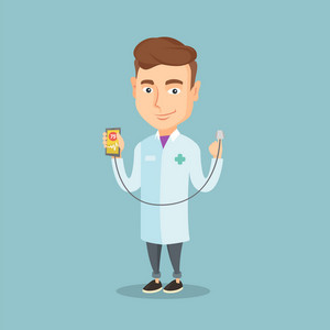 Caucasian doctor showing application for checking heart rate pulse. Young doctor holding smartphone with application for measuring heart rate pulse. Vector flat design illustration. Square layout.