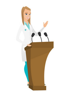 Caucasian doctor speaking to audience from tribune. Doctor giving speech from tribune. Doctor standing behind the tribune with microphones. Vector flat design illustration isolated on white background