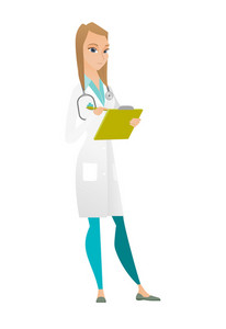 Caucasian doctor writing notes in a notepad. Young doctor writing results of medical examination. Doctor writing medical prescription. Vector flat design illustration isolated on white background.