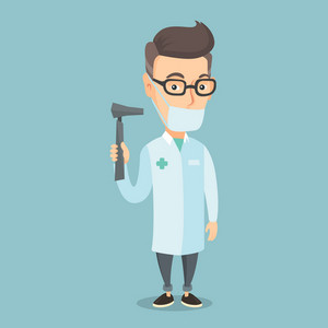 Caucasian ear nose throat doctor holding medical tool. An adult doctor in medical gown and mask with tools used for examination of ear, nose, throat. Vector flat design illustration. Square layout.