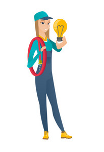 Caucasian electrician in uniform holding idea light bulb. Full length of young builder having a creative idea. Successful idea concept. Vector flat design illustration isolated on white background.