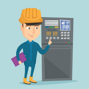 Caucasian engineer with clipboard standing in front of the control panel. Man working on control panel. Young worker pressing button at control panel. Vector flat design illustration. Square layout.