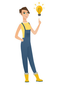 Caucasian farmer pointing at bright idea light bulb. Full length of young farmer having a creative idea. Farmer came up with a great idea. Vector flat design illustration isolated on white background.