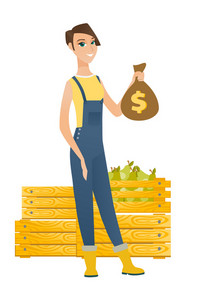 Caucasian farmer showing money bag with dollar sign on the background of crates with pears. Full length of young farmer with money bag. Vector flat design illustration isolated on white background.