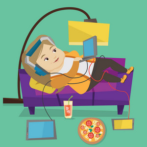 Caucasian fat woman relaxing on a sofa with many gadgets. Woman lying on a sofa surrounded by gadgets and fast food. Plump woman using gadgets at home. Vector flat design illustration. Square layout.