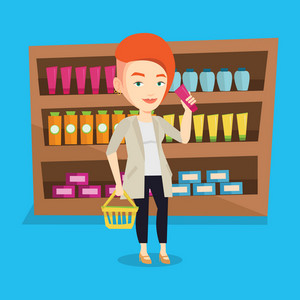 Caucasian female customer shopping at supermarket with basket. Young customer holding a shopping basket in one hand and a tube of cream in another. Vector flat design illustration. Square layout.