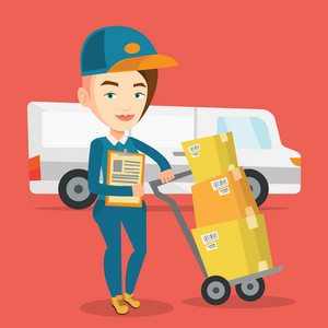 Caucasian female delivery courier with cardboard boxes on trolley. Young delivery courier holding clipboard. Courier standing in front of delivery van. Vector flat design illustration. Square layout.