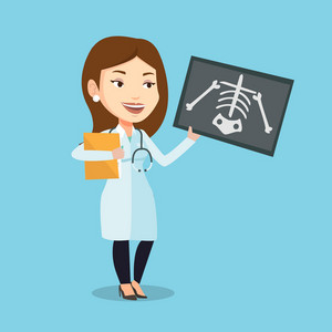 Caucasian female doctor examining a radiograph. Young smiling doctor looking at a chest radiograph. Female doctor observing a skeleton radiograph. Vector flat design illustration. Square layout.