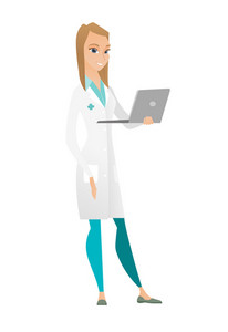 Caucasian female doctor in medical gown using laptop. Full length of young doctor working on a laptop. Cheerful doctor holding a laptop. Vector flat design illustration isolated on white background.